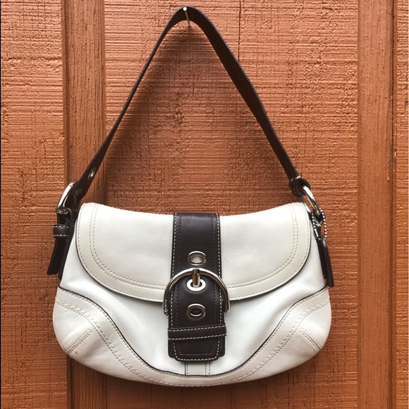 Coach Handbags - Coach Vtg White & Brown Leather Hobo Buckle Bag